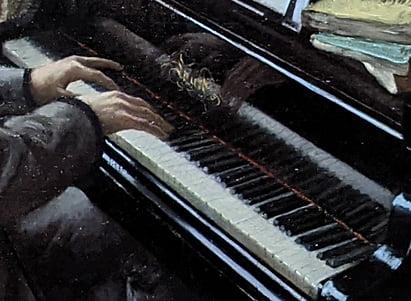 ギュスターヴ・カイユボット「ピアノを弾く若い男」部分